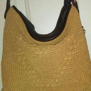 Brighton Woven Heart Raffia Straw & Leather Bag